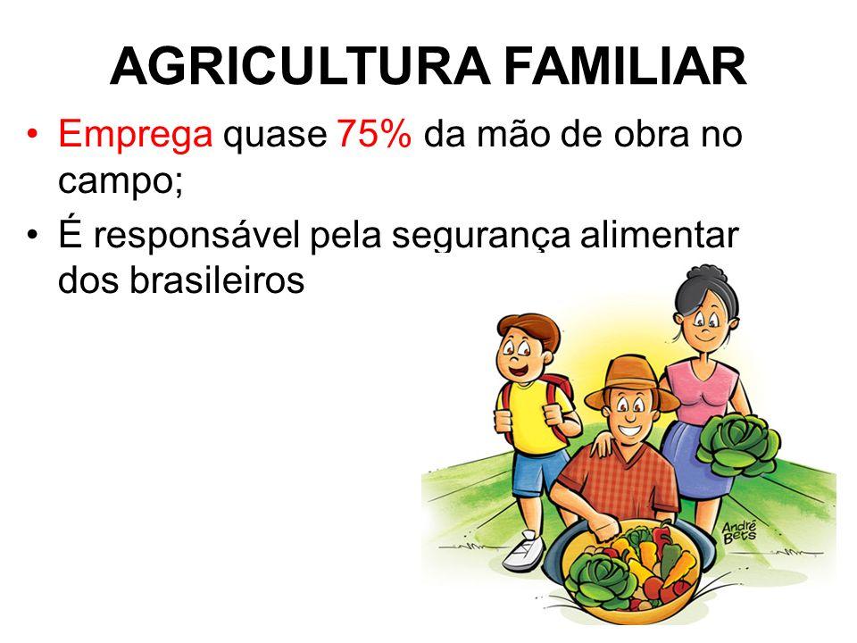 AGRICULTURA FAMILIAR Emprega quase 75% da mão de obra no campo;
