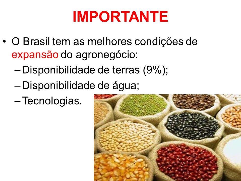 IMPORTANTE O Brasil tem as melhores condições de expansão do agronegócio: Disponibilidade de terras (9%);