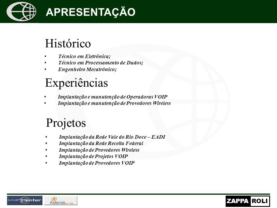 Histórico Experiências Projetos APRESENTAÇÃO Técnico em Eletrônica;