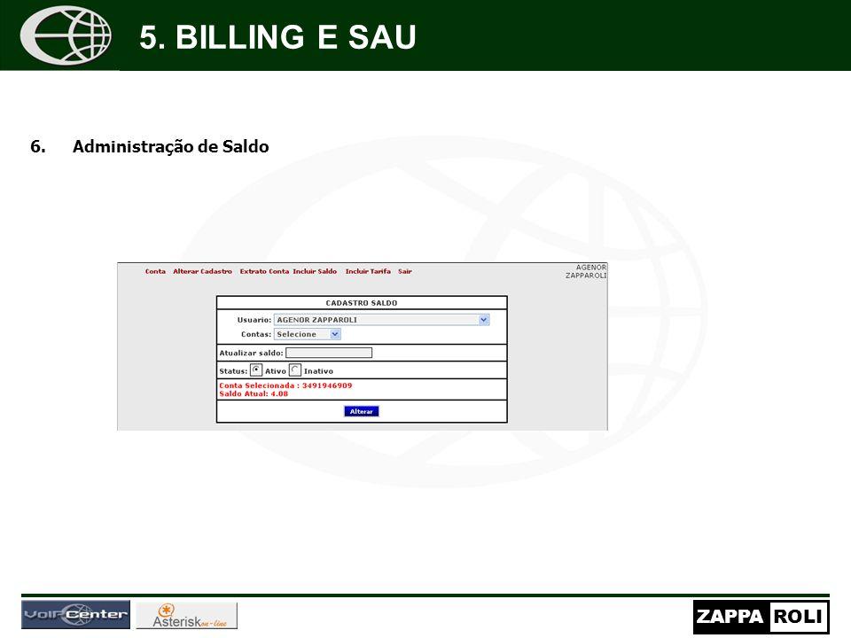 5. BILLING E SAU Administração de Saldo