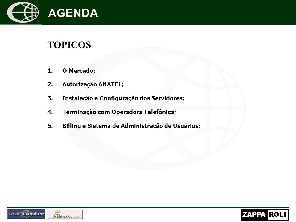 AGENDA TOPICOS O Mercado; Autorização ANATEL;