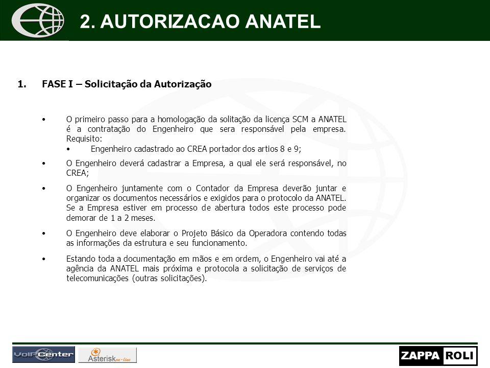2. AUTORIZACAO ANATEL FASE I – Solicitação da Autorização