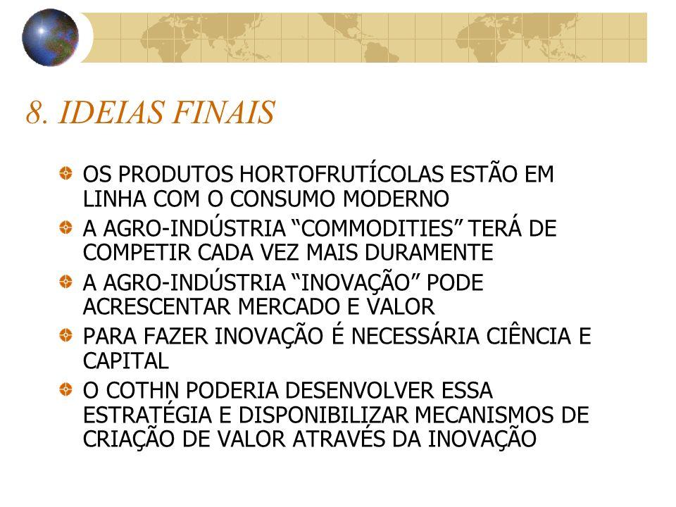 8. IDEIAS FINAIS OS PRODUTOS HORTOFRUTÍCOLAS ESTÃO EM LINHA COM O CONSUMO MODERNO.