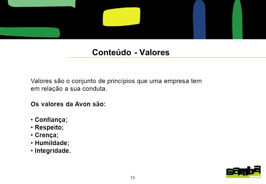 Conteúdo - Valores Valores são o conjunto de princípios que uma empresa tem. em relação a sua conduta.