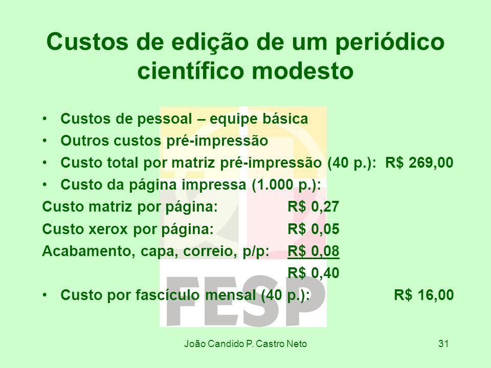 Custos de edição de um periódico científico modesto