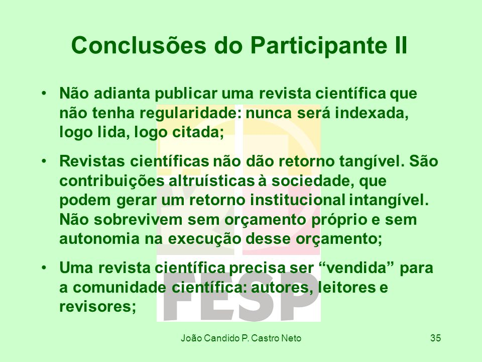 Conclusões do Participante II