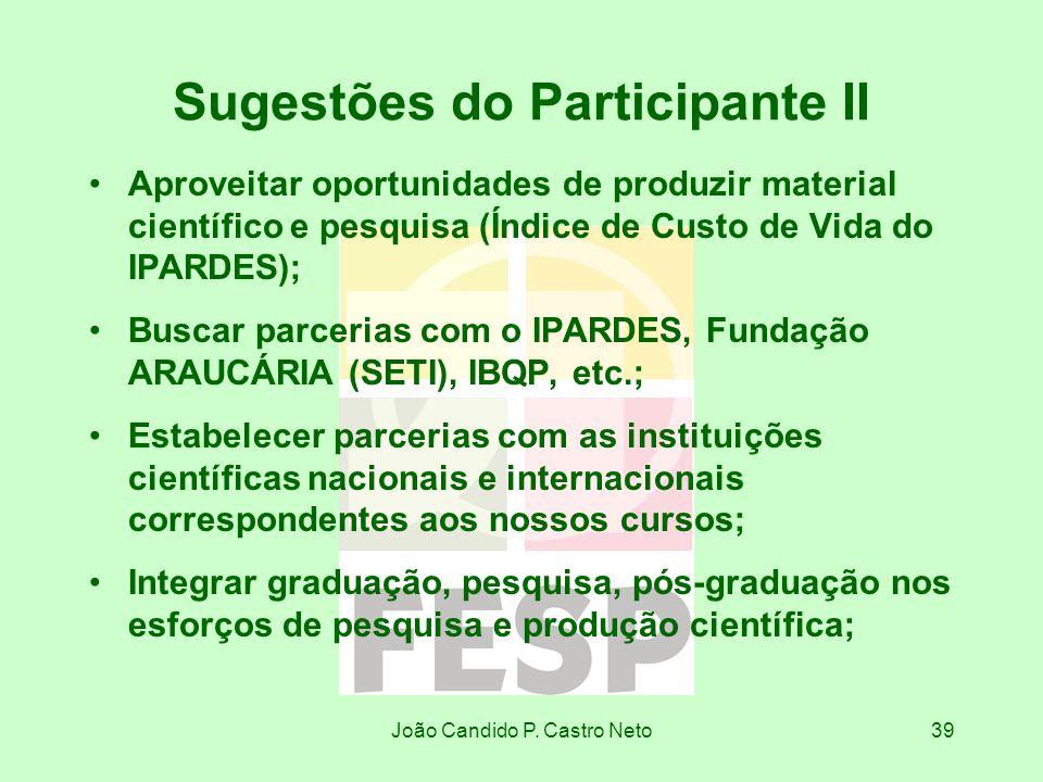 Sugestões do Participante II