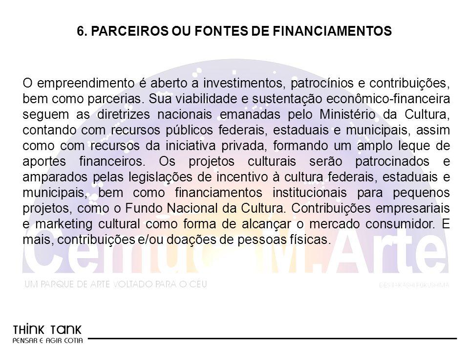 6. PARCEIROS OU FONTES DE FINANCIAMENTOS