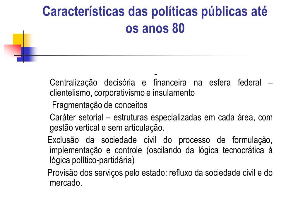 Características das políticas públicas até os anos 80