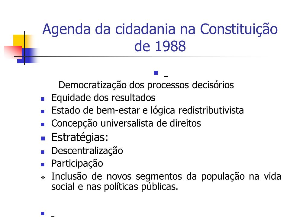 Agenda da cidadania na Constituição de 1988
