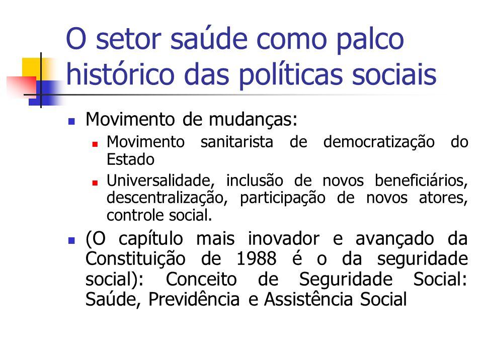 O setor saúde como palco histórico das políticas sociais