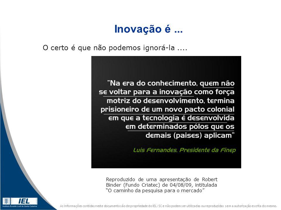 Inovação é ... O certo é que não podemos ignorá-la ....