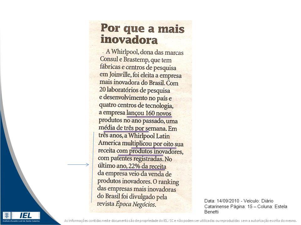 Data: 14/09/2010 - Veículo: Diário Catarinense Página: 15 – Coluna: Estela Benetti