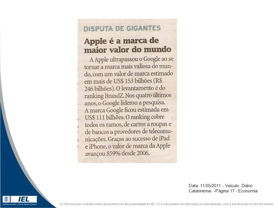 Data: 11/05/2011 - Veículo: Diário Catarinense -Página 17 - Economia