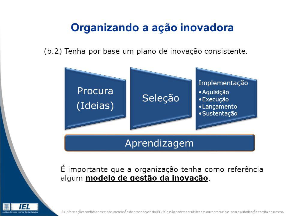 Organizando a ação inovadora
