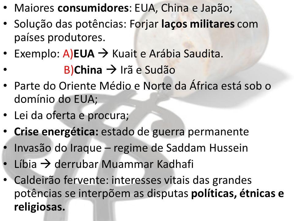 Maiores consumidores: EUA, China e Japão;