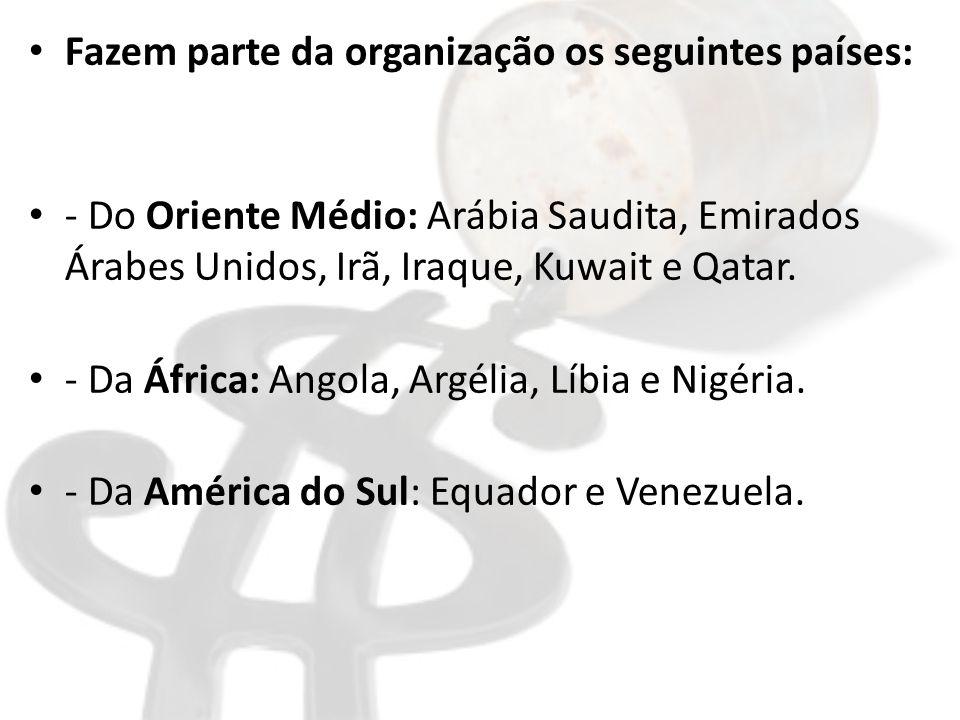 Fazem parte da organização os seguintes países: