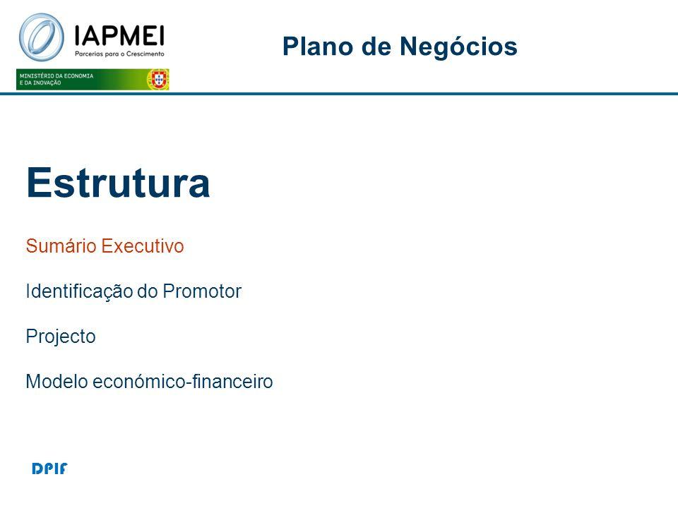 Estrutura Plano de Negócios P Sumário Executivo