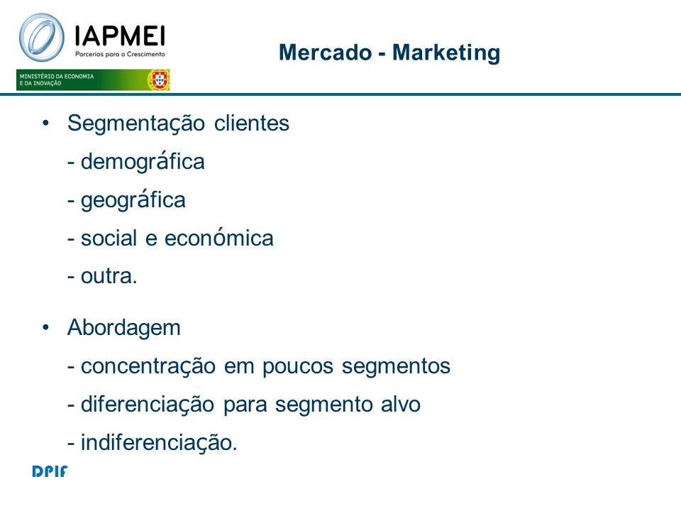 Mercado - Marketing Segmentação clientes - demográfica - geográfica - social e económica - outra.