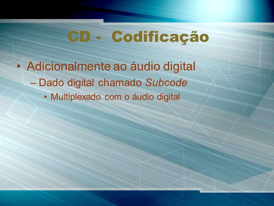 CD - Codificação Adicionalmente ao áudio digital
