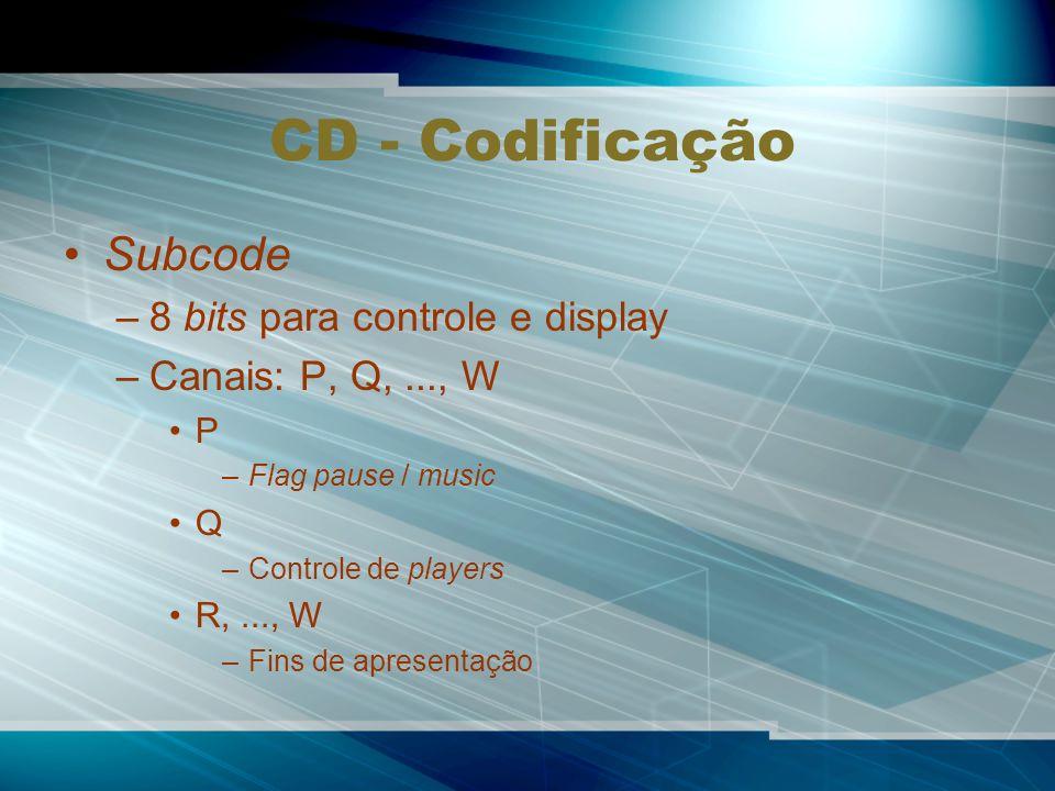 CD - Codificação Subcode 8 bits para controle e display