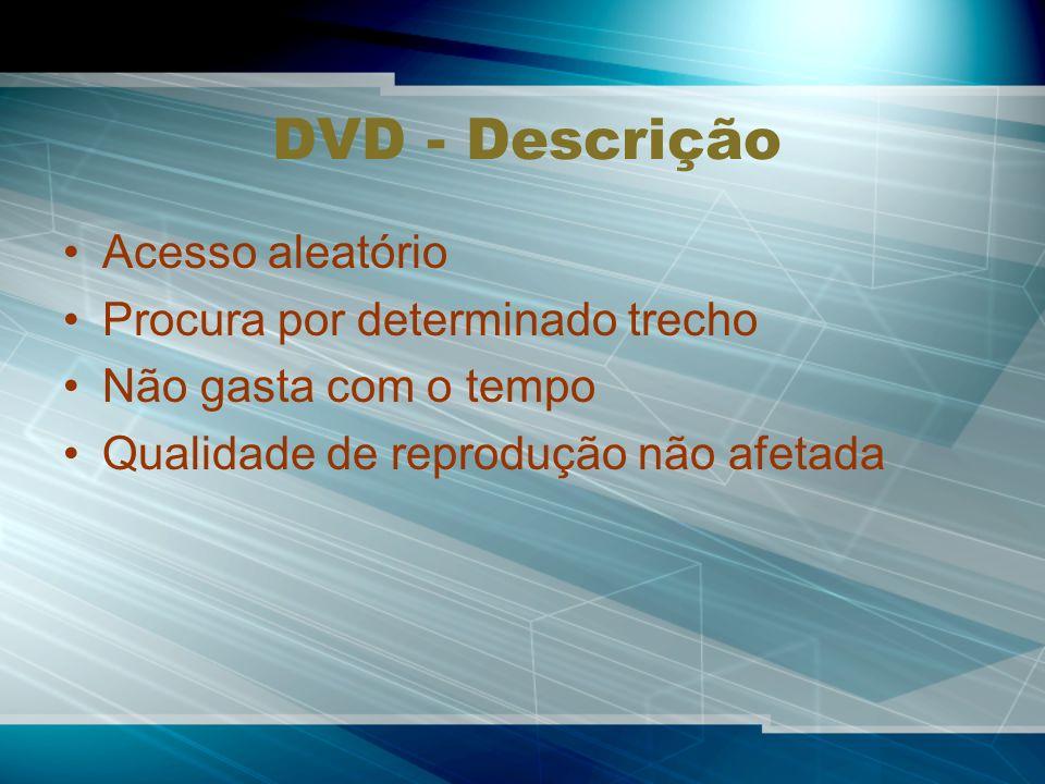 DVD - Descrição Acesso aleatório Procura por determinado trecho