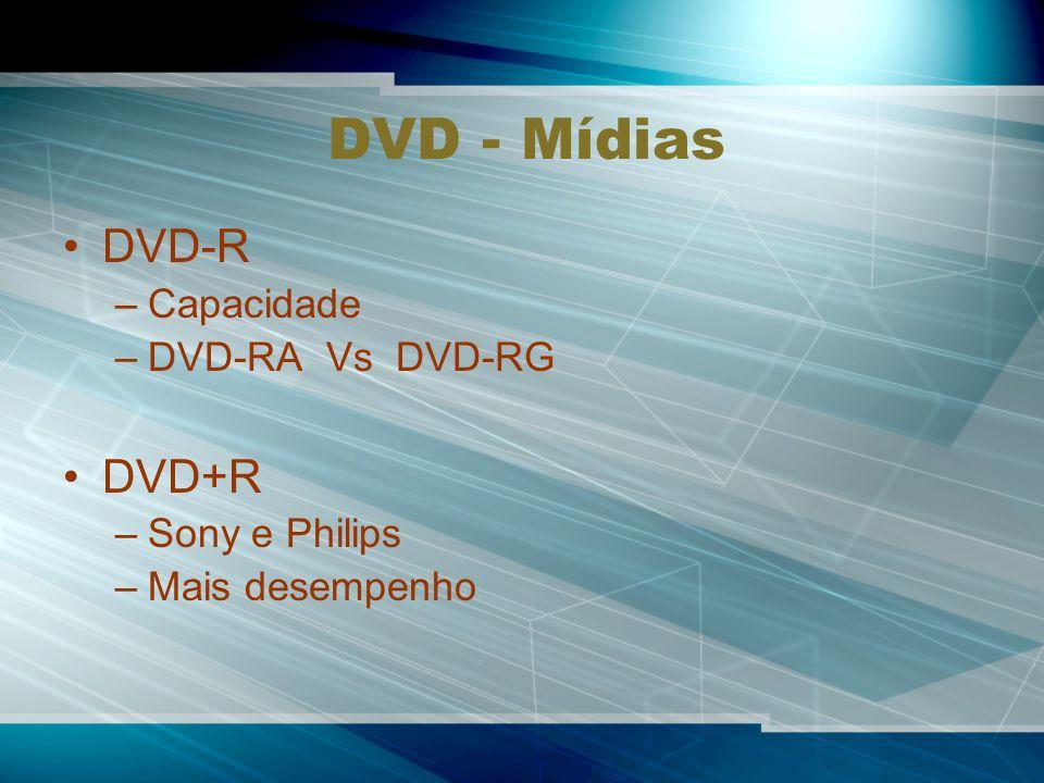 DVD - Mídias DVD-R DVD+R Capacidade DVD-RA Vs DVD-RG Sony e Philips
