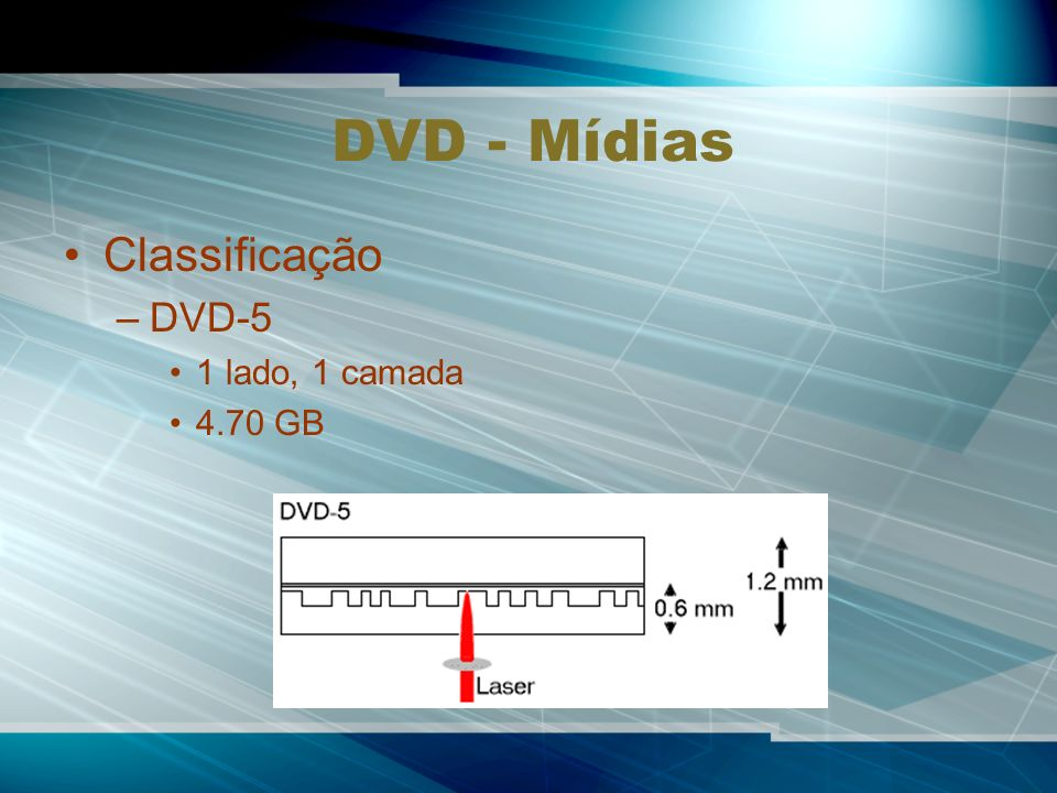 DVD - Mídias Classificação DVD-5 1 lado, 1 camada 4.70 GB