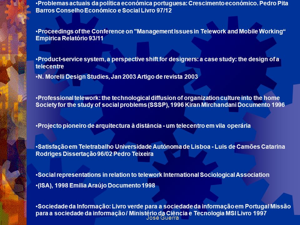 Problemas actuais da política económica portuguesa: Crescimento económico. Pedro Pita Barros Conselho Económico e Social Livro 97/12