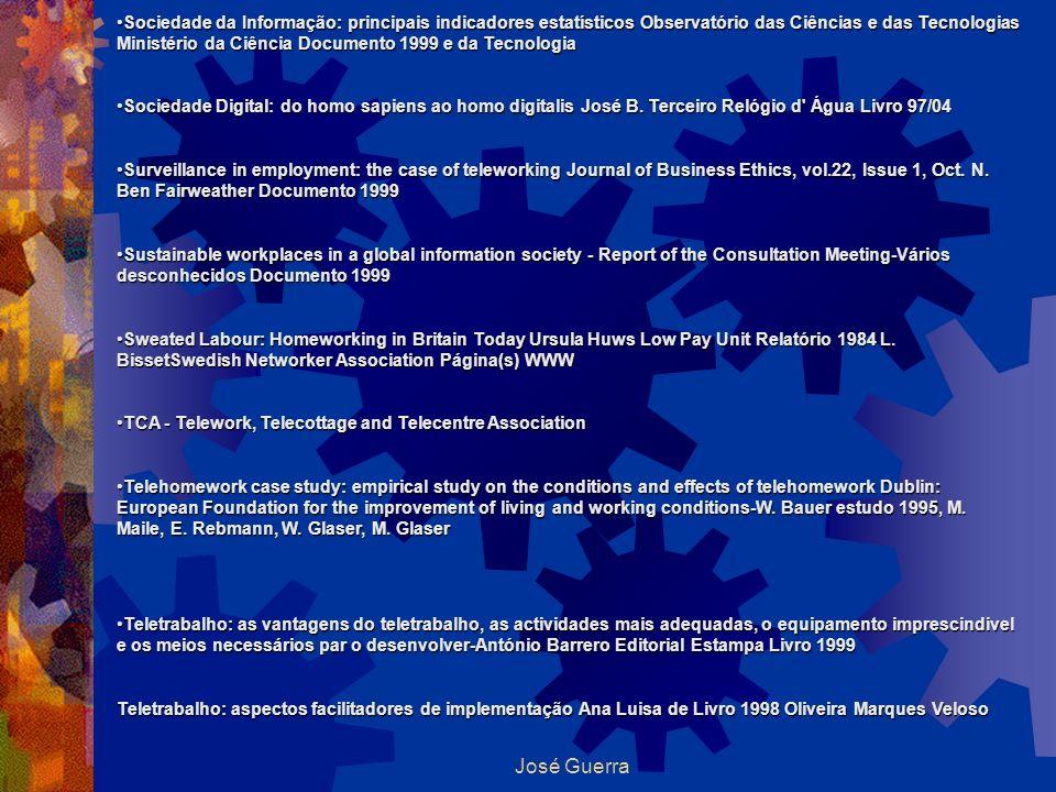 Sociedade da Informação: principais indicadores estatísticos Observatório das Ciências e das Tecnologias Ministério da Ciência Documento 1999 e da Tecnologia