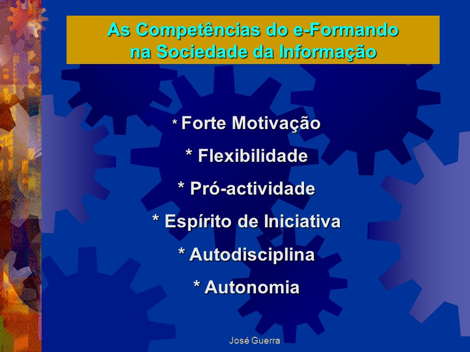 As Competências do e-Formando na Sociedade da Informação