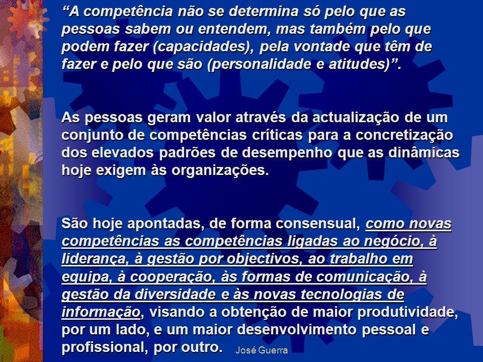 A competência não se determina só pelo que as pessoas sabem ou entendem, mas também pelo que podem fazer (capacidades), pela vontade que têm de fazer e pelo que são (personalidade e atitudes) .