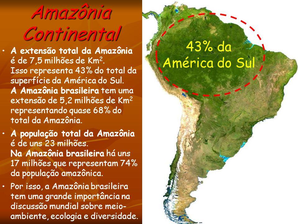Amazônia Continental 43% da América do Sul