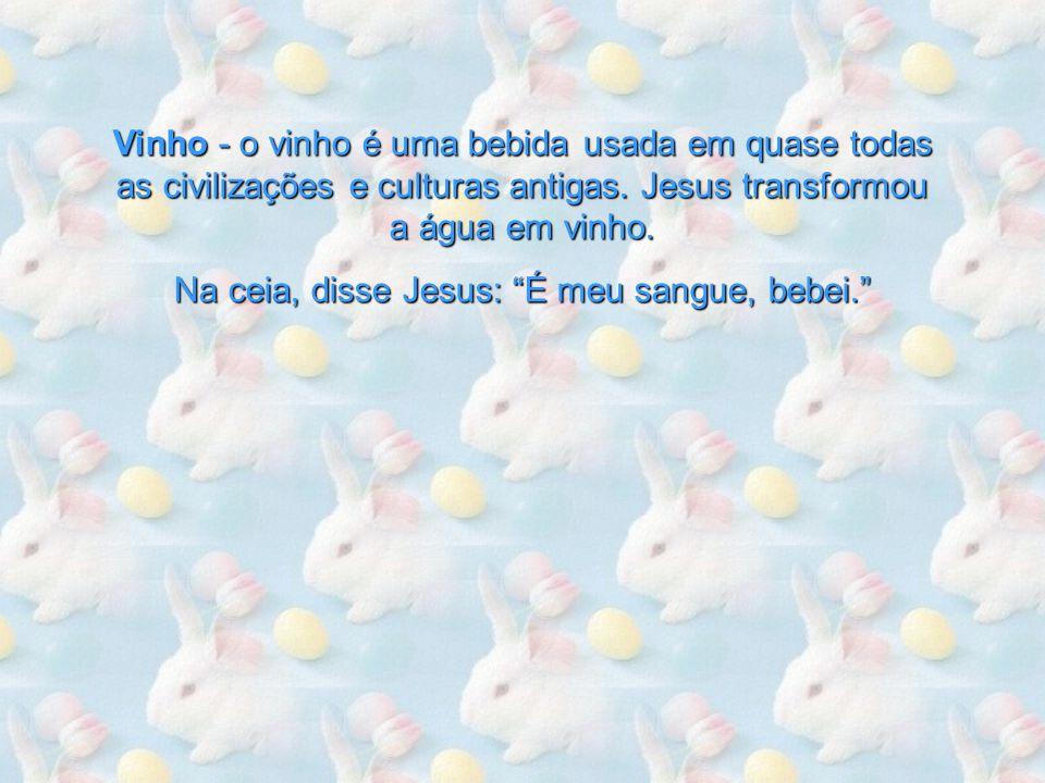 Na ceia, disse Jesus: É meu sangue, bebei.