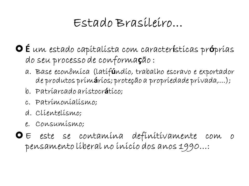 Estado Brasileiro... É um estado capitalista com características próprias do seu processo de conformação :