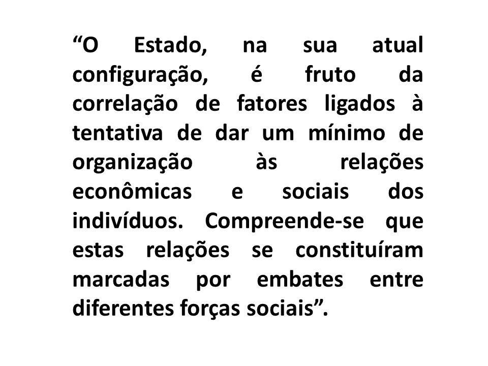 O Estado, na sua atual configuração, é fruto da correlação de fatores ligados à tentativa de dar um mínimo de organização às relações econômicas e sociais dos indivíduos.