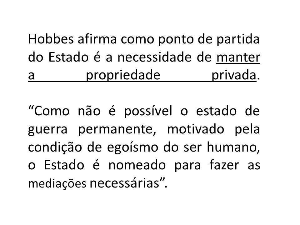 Hobbes afirma como ponto de partida do Estado é a necessidade de manter a propriedade privada.