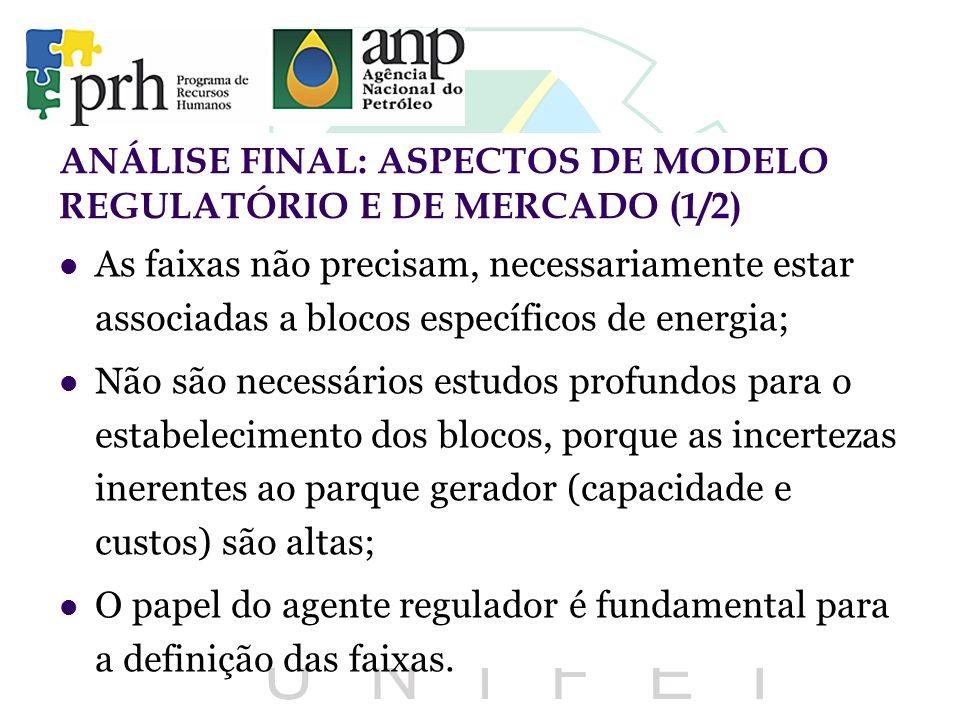 ANÁLISE FINAL: ASPECTOS DE MODELO REGULATÓRIO E DE MERCADO (1/2)