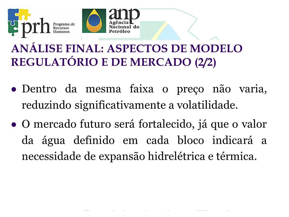 ANÁLISE FINAL: ASPECTOS DE MODELO REGULATÓRIO E DE MERCADO (2/2)