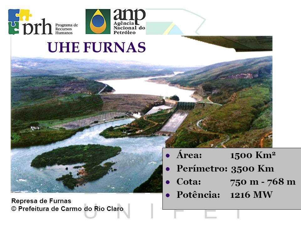 UHE FURNAS Área: 1500 Km2 Perímetro: 3500 Km Cota: 750 m - 768 m