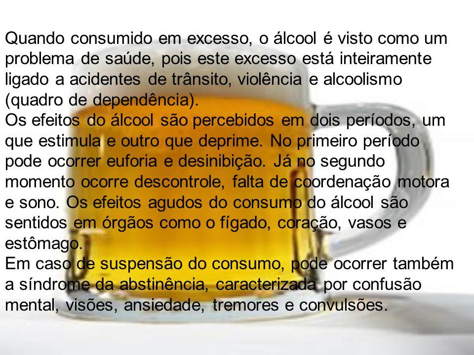 Quando consumido em excesso, o álcool é visto como um problema de saúde, pois este excesso está inteiramente ligado a acidentes de trânsito, violência e alcoolismo (quadro de dependência).