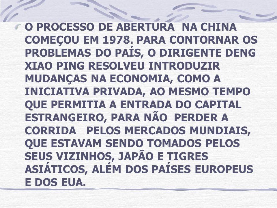 O PROCESSO DE ABERTURA NA CHINA COMEÇOU EM 1978