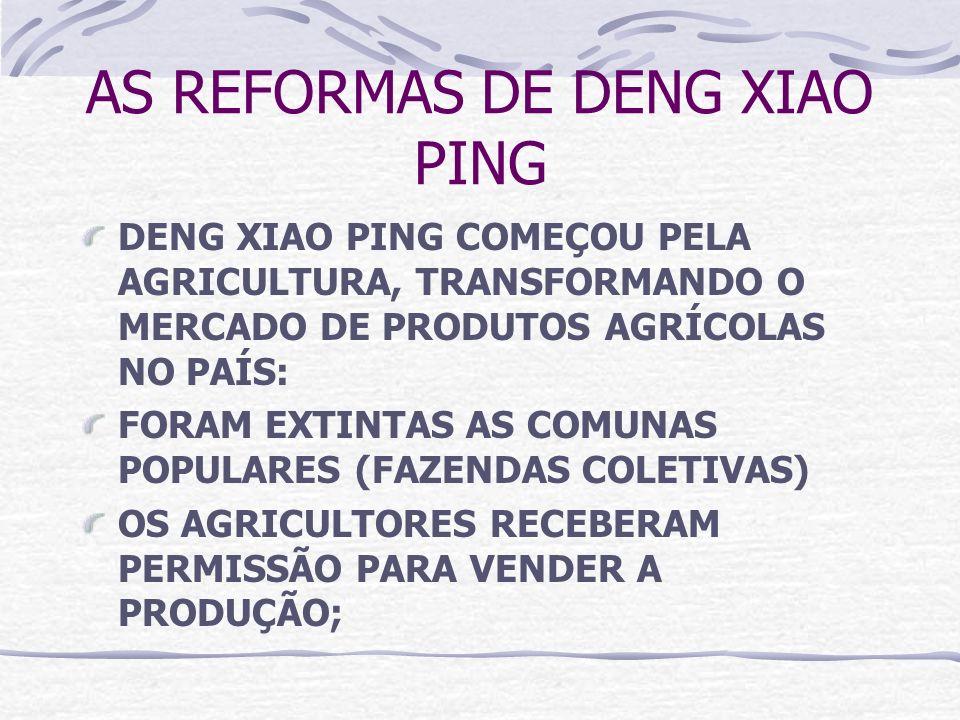 AS REFORMAS DE DENG XIAO PING