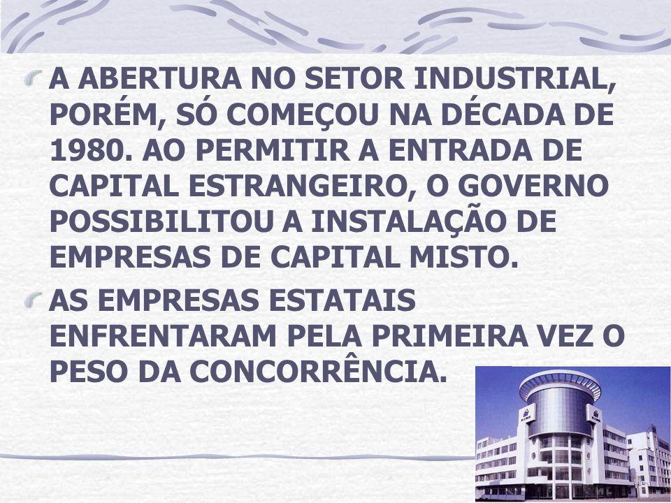A ABERTURA NO SETOR INDUSTRIAL, PORÉM, SÓ COMEÇOU NA DÉCADA DE 1980