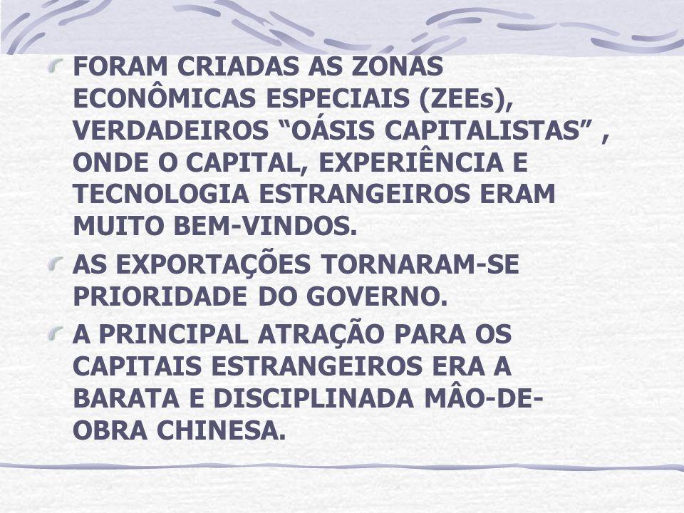 FORAM CRIADAS AS ZONAS ECONÔMICAS ESPECIAIS (ZEEs), VERDADEIROS OÁSIS CAPITALISTAS , ONDE O CAPITAL, EXPERIÊNCIA E TECNOLOGIA ESTRANGEIROS ERAM MUITO BEM-VINDOS.
