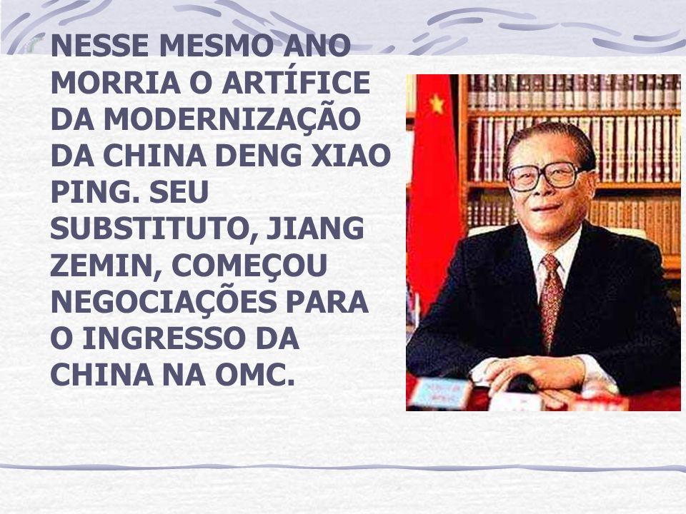 NESSE MESMO ANO MORRIA O ARTÍFICE DA MODERNIZAÇÃO DA CHINA DENG XIAO PING.