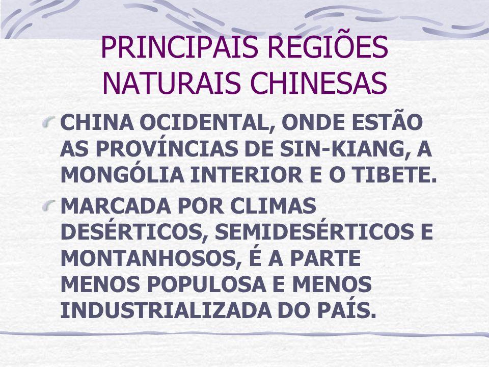 PRINCIPAIS REGIÕES NATURAIS CHINESAS