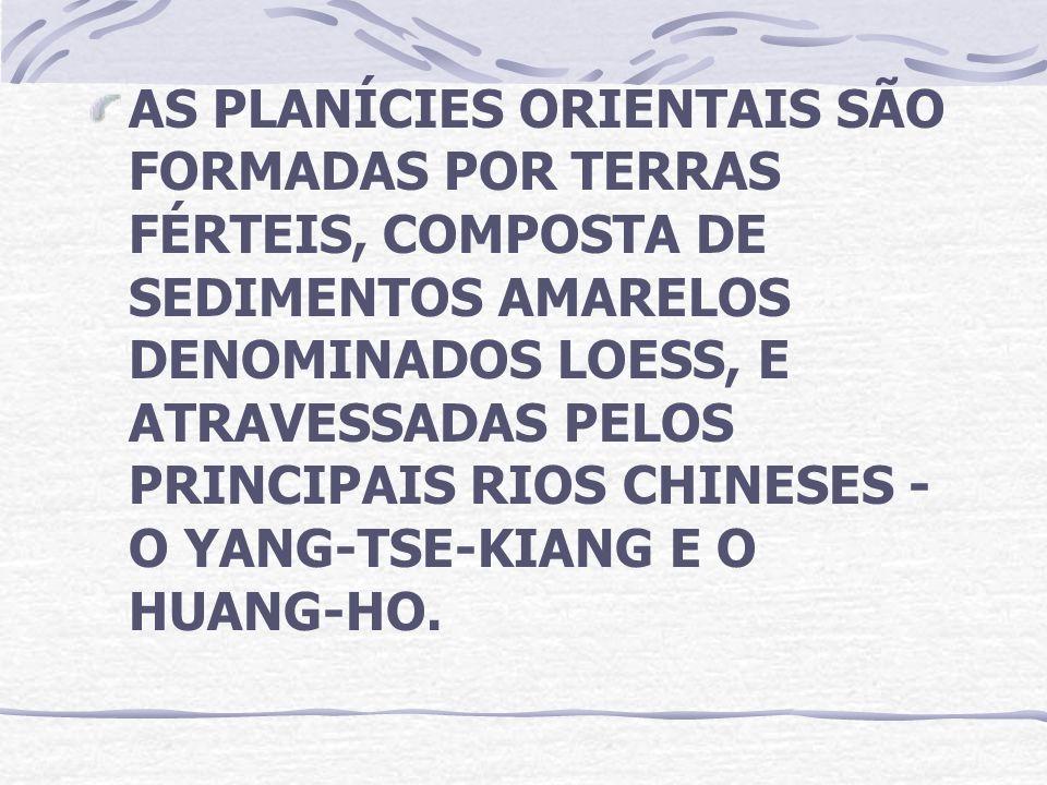AS PLANÍCIES ORIENTAIS SÃO FORMADAS POR TERRAS FÉRTEIS, COMPOSTA DE SEDIMENTOS AMARELOS DENOMINADOS LOESS, E ATRAVESSADAS PELOS PRINCIPAIS RIOS CHINESES - O YANG-TSE-KIANG E O HUANG-HO.