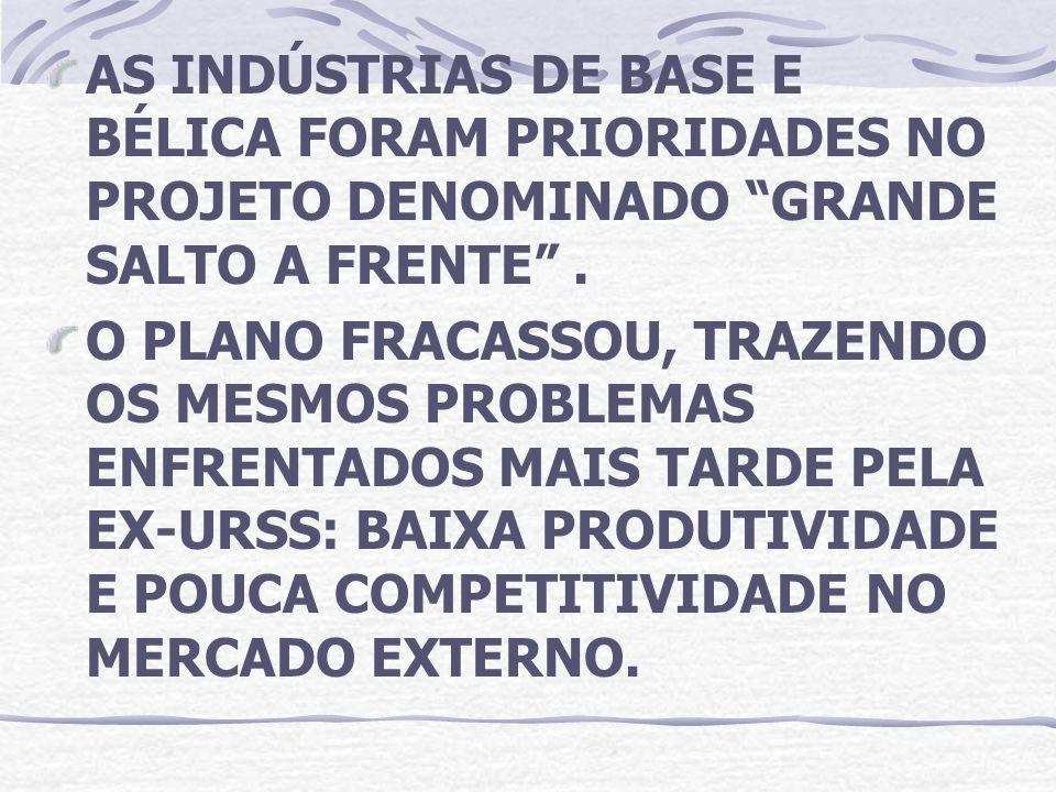 AS INDÚSTRIAS DE BASE E BÉLICA FORAM PRIORIDADES NO PROJETO DENOMINADO GRANDE SALTO A FRENTE .