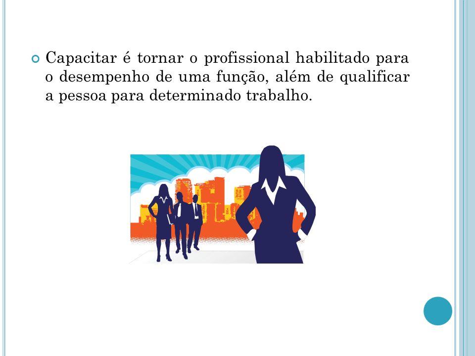 Capacitar é tornar o profissional habilitado para o desempenho de uma função, além de qualificar a pessoa para determinado trabalho.